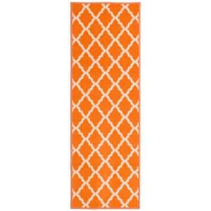 Glamour Collection Contemporary Moroccan Trellis Orange 2 ft. x 5 ft. Kids Runner Rug