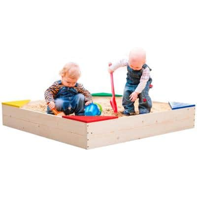 Wooden 3 ft. x 3 ft. Square Sandbox with Cover