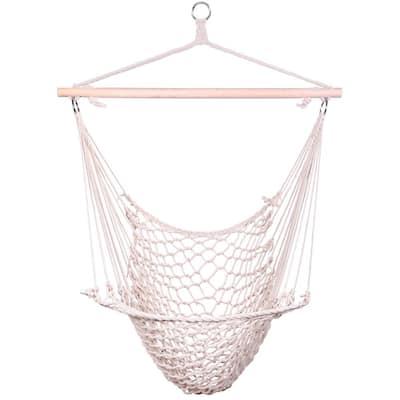 49.6 in. Portable Hammock Rope Chair Outdoor Hanging Air Swing in Beige