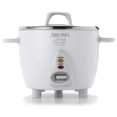 Simply 6-Cup Stainless Steel White Rice Cooker with Measuring Cup and Serving Spatula