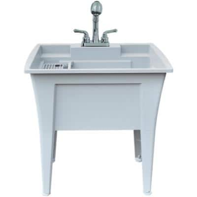 32 in. x 22 in. Polypropylene Granite Laundry Sink with 2 Hdl Non Metallic Pullout Faucet and Installation Kit