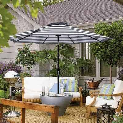 9 ft. Steel Crank and Tilt Stripe Market Patio Umbrella in Black and White