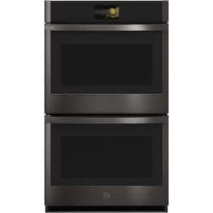 Profile 30 in. Smart Double Electric Wall Oven with Convection Self Cleaning in Black Stainless Steel
