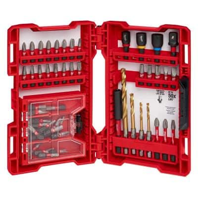 SHOCKWAVE Impact Duty Electrician's Drill and Alloy Steel Screw Driver Bit Set (52-Piece)