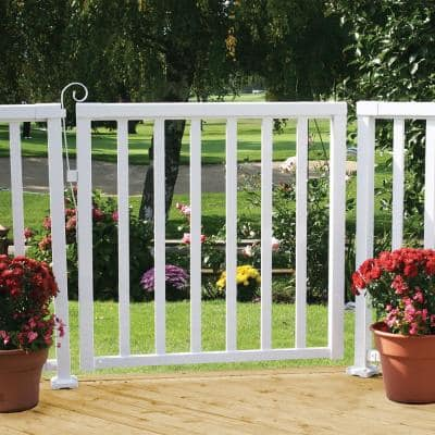 42 in. x 40 in. White Aluminum Wide Picket Gate