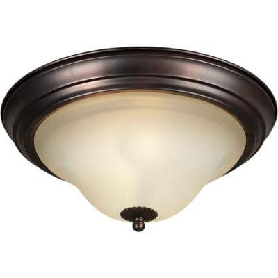 1-Light Antique Bronze Flush Mount with Shaded Umber Glass