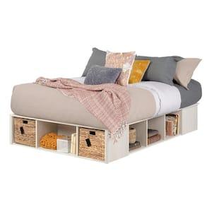 Avilla Winter Oak and Rattan Full Platform Bed
