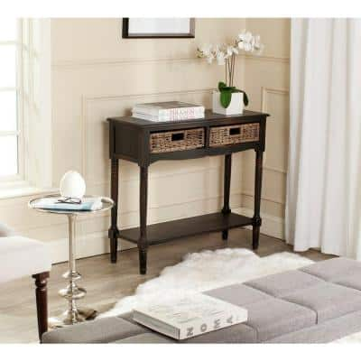 Corbin 36 in. Brown Standard Rectangle Wood Console Table with Drawers