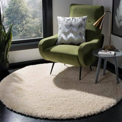 California Shag Ivory 9 ft. x 9 ft. Round Solid Area Rug