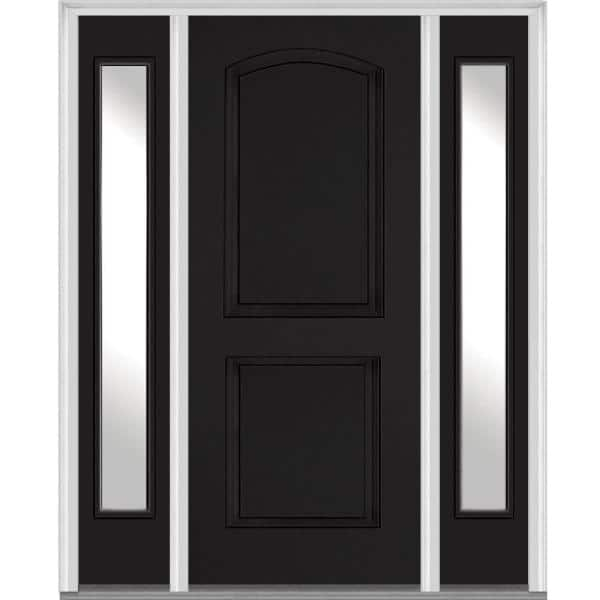Mmi Door 68 5 In X 81 75 In Right Hand Inswing 2 Panel Arch Painted Fiberglass Smooth Prehung Front Door With Sidelites Z019217r The Home Depot