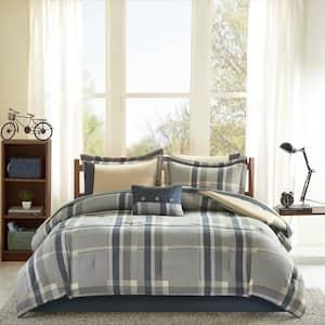 Roger 7-Piece Navy/Tan Twin Comforter Set