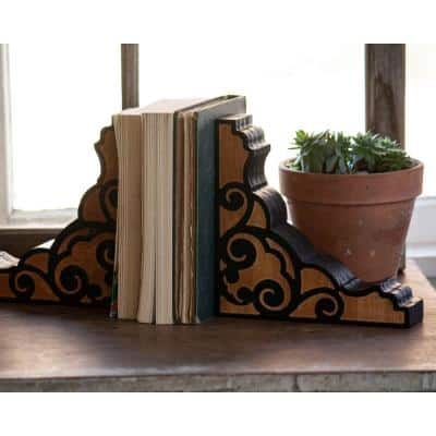 Multicolored Wood Corbel Bookends (Set of 2)