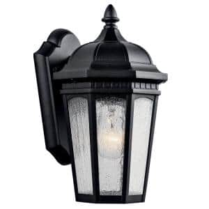 Courtyard 11 in. 1-Light Textured Black Outdoor Wall Mount Sconce with Clear Seeded Glass