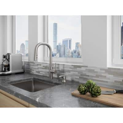 Zanna Single-Handle Pull-Down Sprayer Kitchen Faucet with Soap Dispenser in Spot Defense Stainless Steel