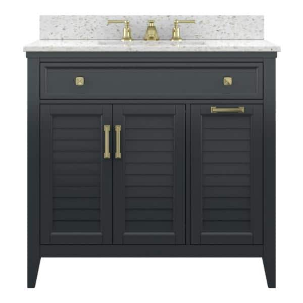 Foremost Callen 36 In W X 21 5 In D X 34 In H Bath Vanity Cabinet Only In Charcoal Grey Cygv3622d The Home Depot