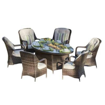 Irene Brown 7-Piece Oval Patio Wicker Gas Fire Pit Set with 6 Chairs and Beige Cushions