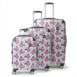 Disney Minnie Mouse Floral 3-Piece 29 in., 25 in. and 21 in. White Hard-Sided Rolling Luggage Set