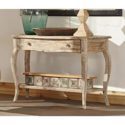 42 in. Driftwood Standard Rectangle Wood Console Table with Drawers