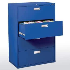 600 Series 36 in. W 4-Drawer Lateral File Cabinet in Blue