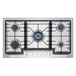 36 in. Gas Stove Cooktop in Stainless Steel with 5 Sealed Burners - LP Convertible