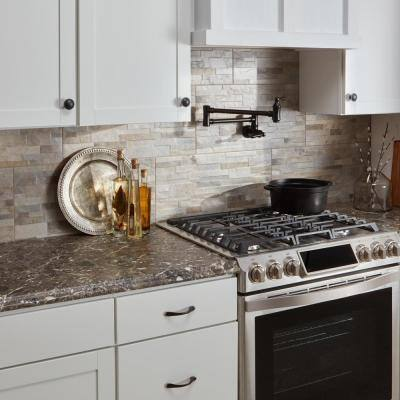 8 ft. Brown Laminate Countertop Kit with Full Wrap Ogee Edge in Breccia Marble