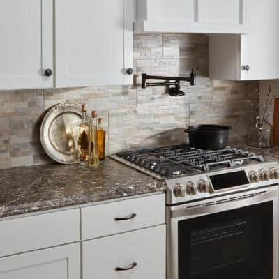 8 ft. Brown Laminate Countertop Kit With Right Miter and Full Wrap Ogee Edge in Breccia Marble