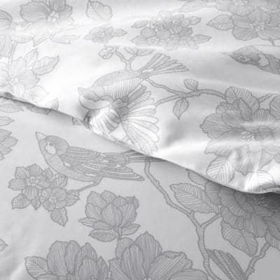 Legends Hotel Etched Floral Gray Sateen Comforter