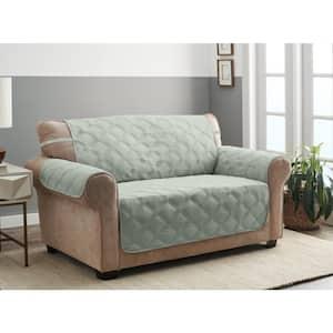 Hampton Celadon 1-Piece Diamond Secure Fit Loveseat Furniture Cover