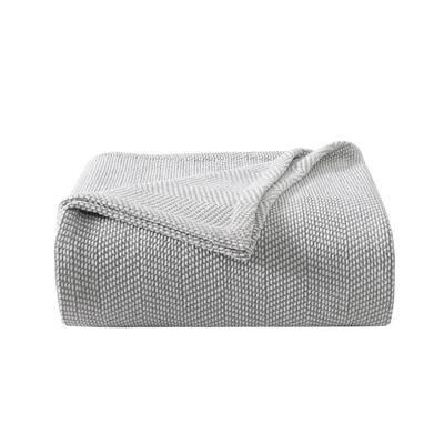 Chenille Pique Hypoallergenic 1-Piece Gray Cotton Twin Blanket