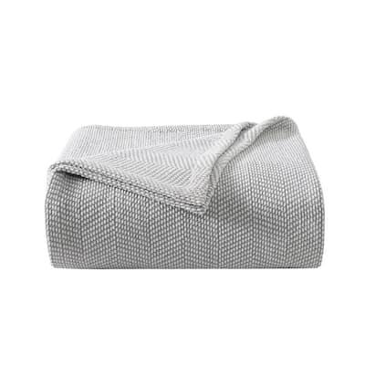 Chenille Pique Hypoallergenic 1-Piece Gray Cotton King Blanket