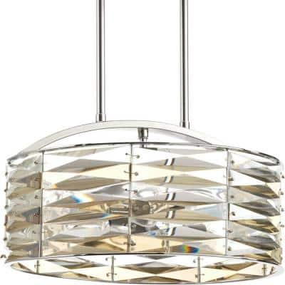 The Pointe Collection 5-Light Polished Chrome Pendant with Clear And Champagne Glass