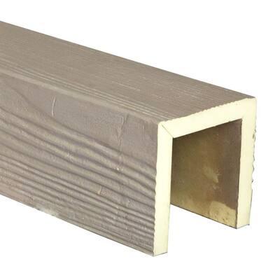 SAMPLE - 6 in. x 6 in. x 12 in. 3 Sided (U-Beam) Sandstone White Washed Endurathane Faux Wood Ceiling Beam Premium