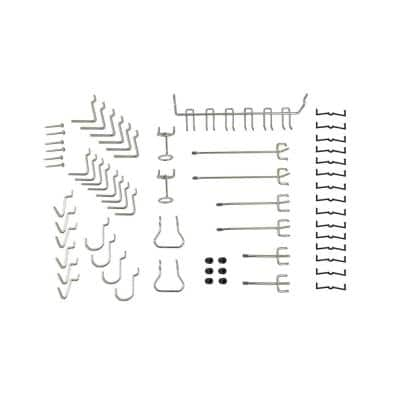 Set of Locking Pegboard Hooks in Zinc Finish (47-units)