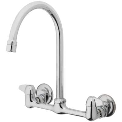 2-Handle Standard Kitchen Faucet with Gooseneck Spout in Polished Chrome