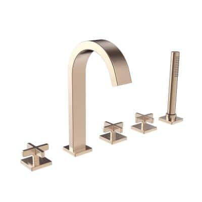 Lura 3-Handle Roman Tub Faucet with Cross Handles and Handshower in Brushed Bronze