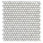 Confetti II White 11.81 in. x 11.81 in. Penny Glossy & matte blend Glass Mosaic Tile (0.969 sq. ft./Each)
