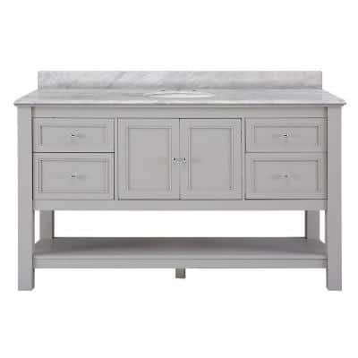 Gazette 61 in. W x 22 in. D Bath Vanity in Grey with Marble Vanity Top in Carrara White