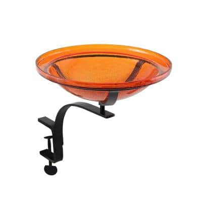 Achla Designs 12 5 In Dia Mandarin Orange Achla Designs Reflective Crackle Glass Birdbath Bowl With Rail Mount Bracket Cgb 06m Rm The Home Depot