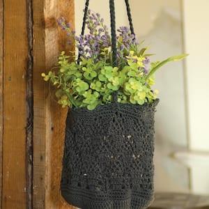 Mode Crochet Charcoal Polypropylene Hanging Baskets (Set of 2)