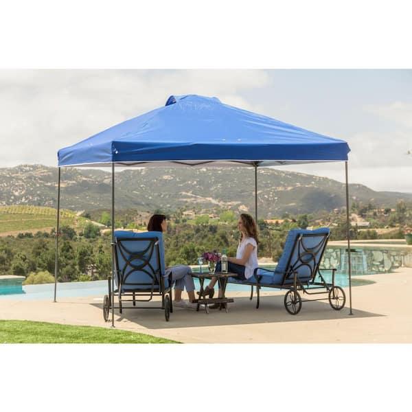 Everbilt 10 Ft X 10 Ft Blue Instant Canopy Pop Up Tent Ns Clia 100 B The Home Depot