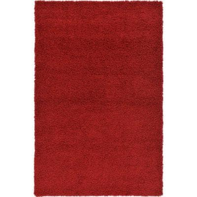 Solid Shag Cherry Red 4 ft. x 6 ft. Area Rug