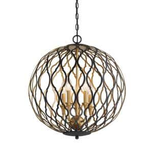 Gilded Glam 5-Light Sand Coal with Painted and Plated Honey Gold Pendant