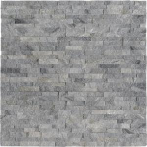 Sky Gray Mini Ledger Panel 4.5 in. x 16 in. Natural Marble Wall Tile (5 sq. ft./Case)