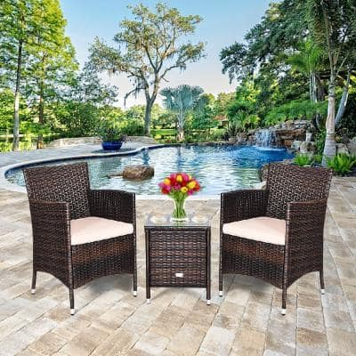 3-Piece PE Rattan Wicker Patio Conversation Set Outdoor Chairs and Coffee Table with Yellowish Cushion