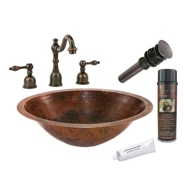 Premier Copper S All In One, Oval Copper Bathroom Sink