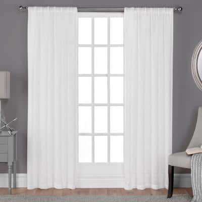 Belgian Winter White Textured Jacquard 50 in. W x 84 in. L Rod Pocket, Sheer Curtain Panel (Set of 2)