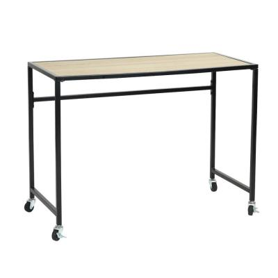 Waikaia 39.4 in. Rectangular Light Brown Writing Desk with Wheels