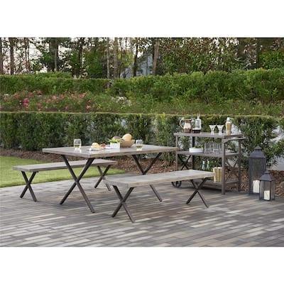 Farmstead 3-Piece Dark Brown Aluminum Outdoor Dining Set