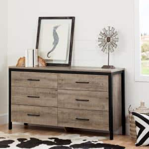 Munich 6-Drawer Weathered Oak Dresser