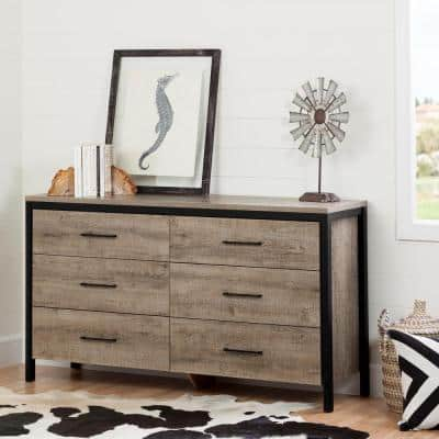 Munich 6-Drawer Weathered Oak Dresser